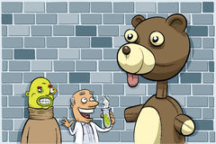 Scientist, Sidekick and Creation. A mad scientist and his sidekick with their giant, monster teddy bear creation Royalty Free Stock Photo