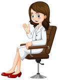 Scientist sitting on chair. Illustration Royalty Free Stock Images
