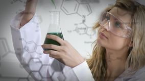 Scientist with structural formula of chemical compounds. Animation of a young Caucasian female scientist in a laboratory with white structural formula of stock video