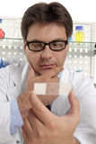 Scientist studies a microscope slide Stock Image