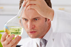 Scientist Studying Liquid In Flask Royalty Free Stock Image