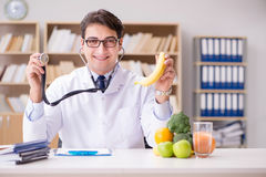 The scientist studying nutrition in various food Stock Photography