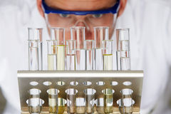 Scientist Studying Test Tubes In Rack Stock Photography