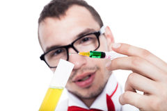 Scientist with syringe Royalty Free Stock Photo