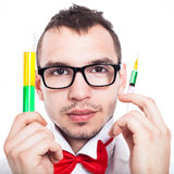 Scientist with syringe and test tube Royalty Free Stock Photography