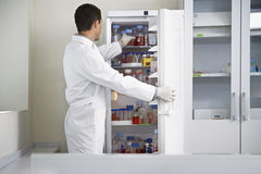 Scientist Taking Bottle From Refrigerator At Laboratory Royalty Free Stock Image