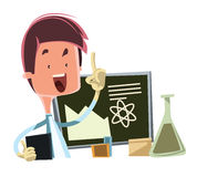Scientist teaching the science  illustration cartoon character Stock Photo