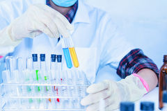 The scientist test or science research,science concept,science e Royalty Free Stock Image