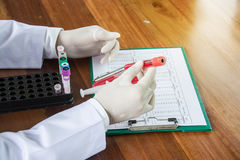 Scientist with test tube making research in clinical laboratory. Royalty Free Stock Images