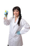 Scientist with test tubes stock photo