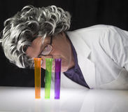 Scientist and Test Tubes Stock Photo