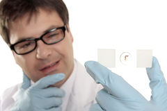 Scientist thinking over a microscope slide. Scientist, biologist, botanist or other medical or laboratory worker holding a prepared slide and pondering Royalty Free Stock Images
