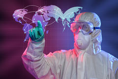 Scientist Touching Screen Where Ebola Virus Started Stock Image