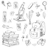 Scientist, traveler and explorer objects Royalty Free Stock Image
