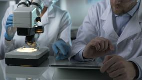 Scientist typing on tablet comments of colleague viewing sample under microscope. Stock footage stock video footage