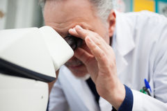 Scientist using a microscope Royalty Free Stock Images