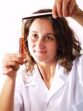 Scientist using a test tube Royalty Free Stock Images