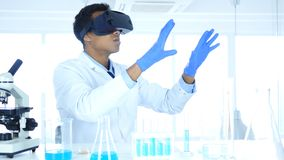 Scientist Using virtual reality glasses for Research and imagination in Laboratory, Vr Goggles. 4k , high quality stock photography