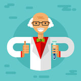 Scientist. Vector flat style illustration of old men scientist in glasses with thumbs-up, flasks and making research. Chemistry laboratory research concept Stock Photography