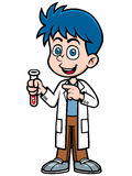 Scientist. Vector illustration of Little Scientist holding test tube stock illustration