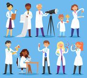 Scientist vector professional people character chemist or doctor researching medical experiment in scientific laboratory. Illustration set of woman or man with royalty free illustration