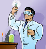 Scientist with vials Royalty Free Stock Photography