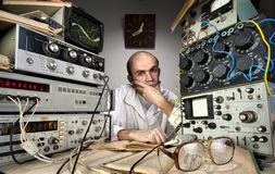 Scientist at vintage laboratory Royalty Free Stock Image