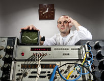 Scientist at vintage laboratory Royalty Free Stock Images