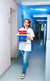 Scientist walks down the corridor Royalty Free Stock Photo