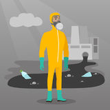 Scientist wearing radiation protection suit. Royalty Free Stock Photography
