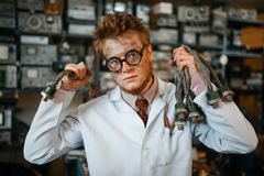 Free Scientist With Terminal Connected To His Ear, Test Royalty Free Stock Photo - 160362795