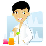 Scientist woman. Isolated scientist woman in lab coat with chemical glassware Stock Images