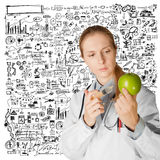 Scientist woman with apple Royalty Free Stock Photography