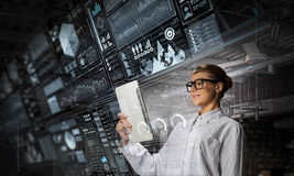Scientist woman doing research. Mixed media . Mixed media Royalty Free Stock Photos