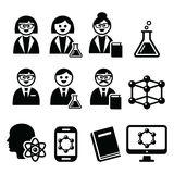 Scientist woman and man, science icons set Stock Photography