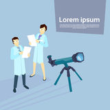 Scientist Woman Man Telescope Laboratory Royalty Free Stock Photos