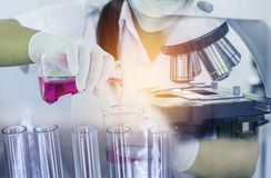 Scientist woman research carrying chemistry liquid with microscope equipment for research experiments to test tube. Double exposure close up scientist woman Royalty Free Stock Photos