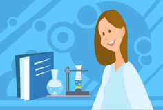 Scientist Woman Working Research Chemical Laboratory. Flat Vector Illustration Stock Photos