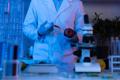 Scientist during work at modern biological laboratory. Male scientist during work at modern biological laboratory Stock Images