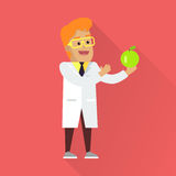 Scientist at Work Vector Flat Style Illustration. Scientist at work illustration. Vector in flat style design. Scientific icon. Smiling male character in white Royalty Free Stock Photos