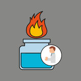 Scientist worker research laboratory burner icon Stock Image