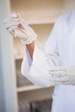 Scientist working attentively with pipette Stock Photography