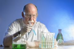 Scientist working with chemicals Royalty Free Stock Photo