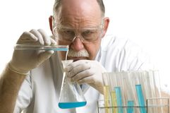 Scientist working with chemicals Stock Image