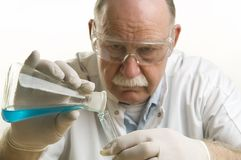 Scientist working with chemicals Royalty Free Stock Images