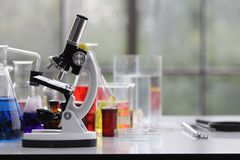 scientist working in the chemistry laboratory / researcher working in the lab analyzing. stock photography