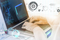 Scientist working on computer for analysis. Scientist working on computer for analysis concept Royalty Free Stock Photo