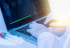 Scientist working on computer for analysis. Stock Photos