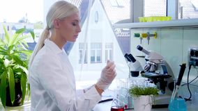 Scientist working in lab. Female doctor making medical research. Laboratory tools: microscope, test tubes, equipment