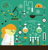 Scientist working in Lab. A scientist works in her well equipped laboratory Royalty Free Stock Photos